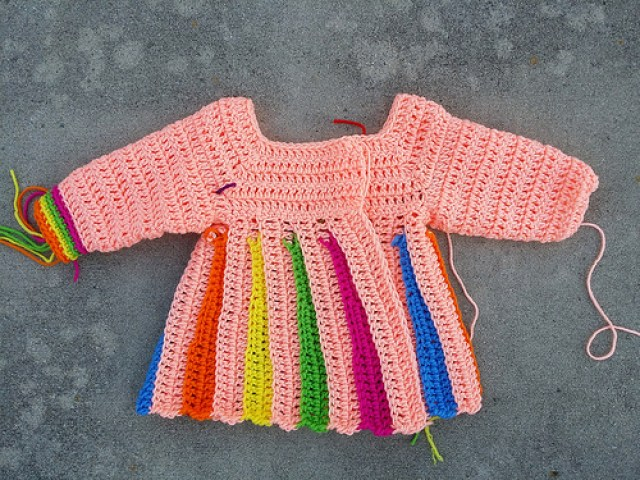 yoke for the Eloise crochet sweater, crochetbug, jackson pollock, crochet baby sweater