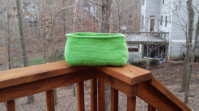 And now there are two: the second Ikea Expedit cubby crochet basket