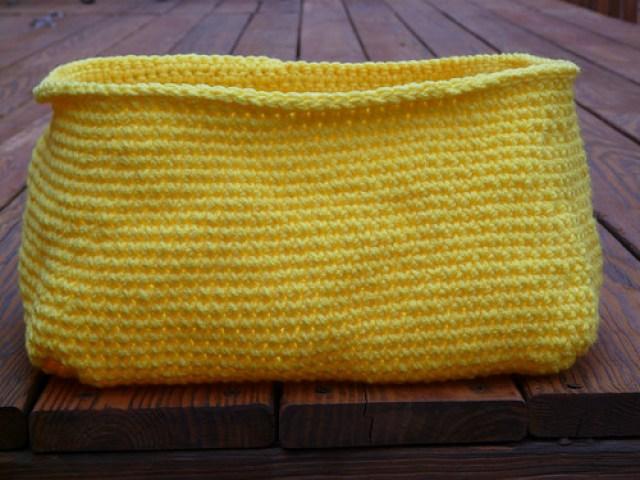 ikea cubby yellow crochet basket