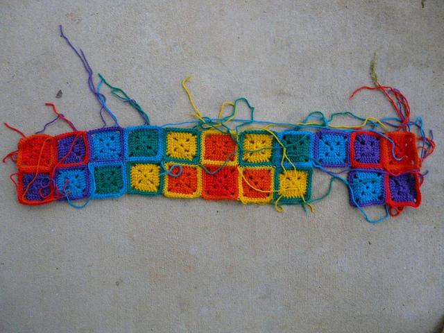 rainbow sunshine and shadow granny square crochet blanket