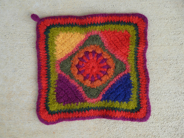 One hurry up hostess gift crochet potholder after felting