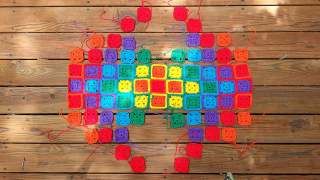 crochet squares in sunshine and shadow