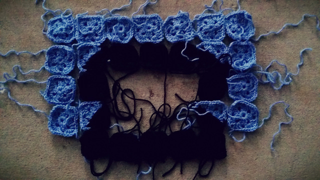 The crochet telephone to be in need of seven squares before bedtime