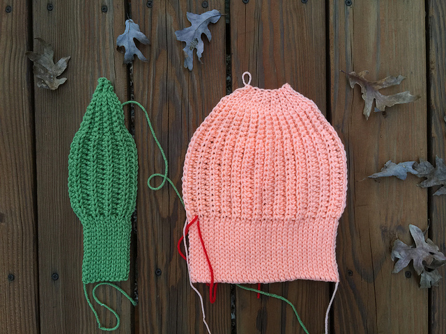 Two seafarer's crochet caps in medias res