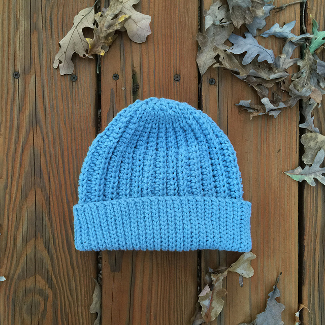 spa blue crochet cap