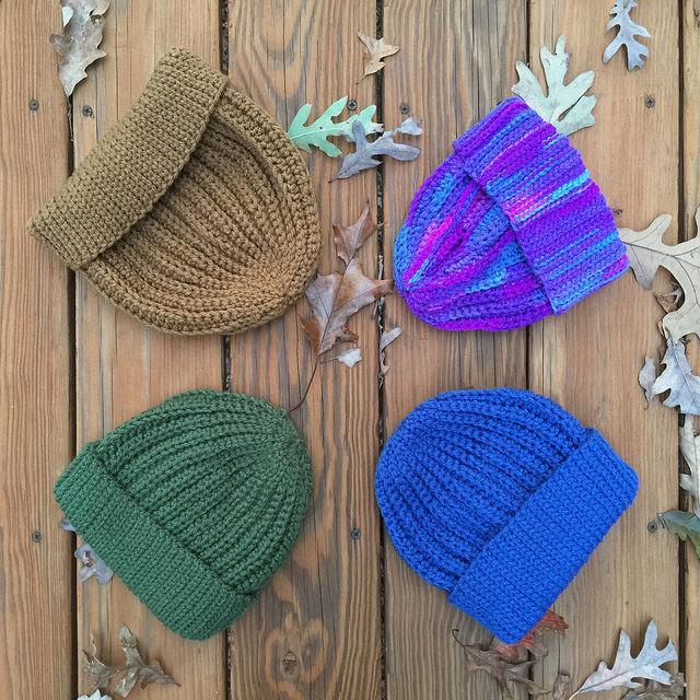 four crochet hats