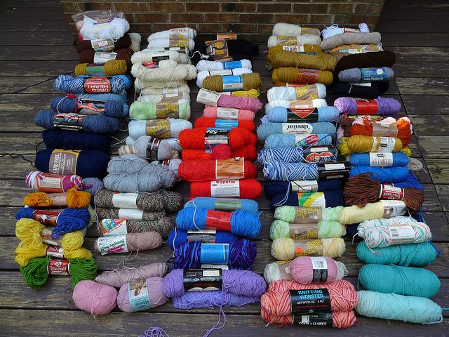 vintage yarn stash acquisition