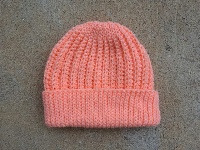 Peachy keen seafarer's crochet cap ready to be tricked out; the second of two more hats