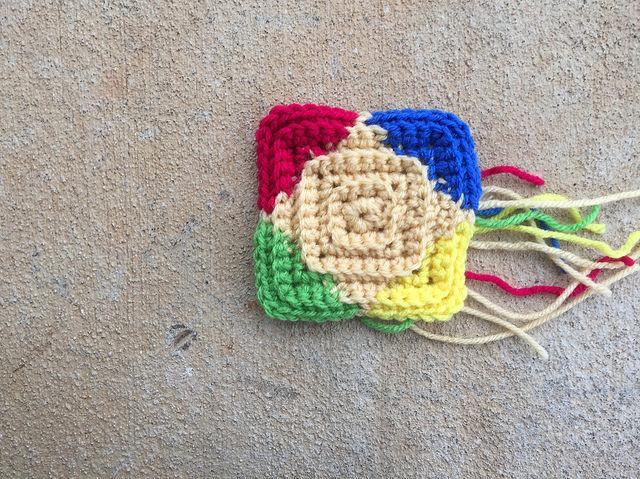 A small multicolor textured crochet square