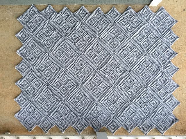 gray textured crochet square afghan