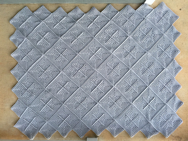 back of the textured crochet square afghan