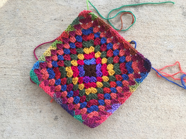 A finally completed never-ending granny square