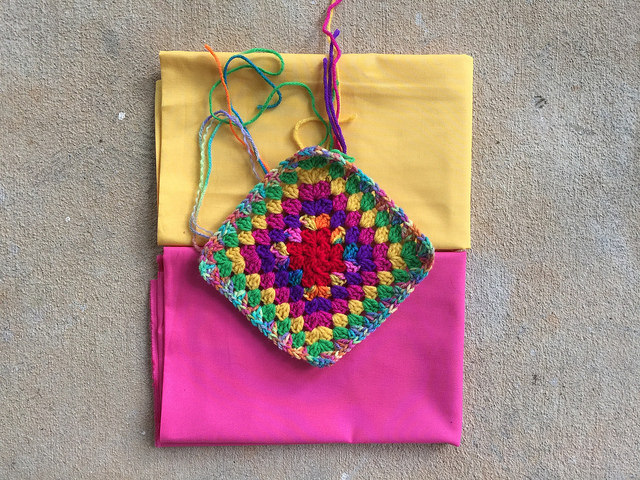 granny square with fabric