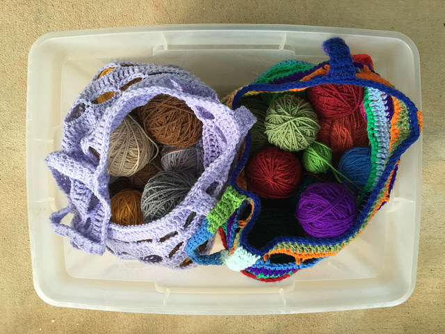 crochetbug, crochet basket, crochet bag, yarn stash, crochet stash bag
