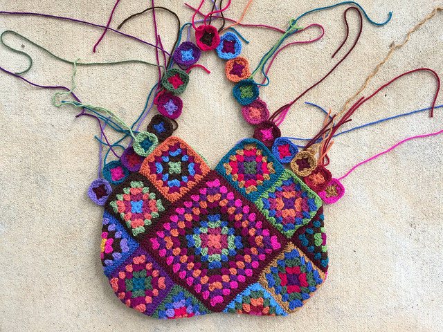 One side of my fourth granny square crochet bag