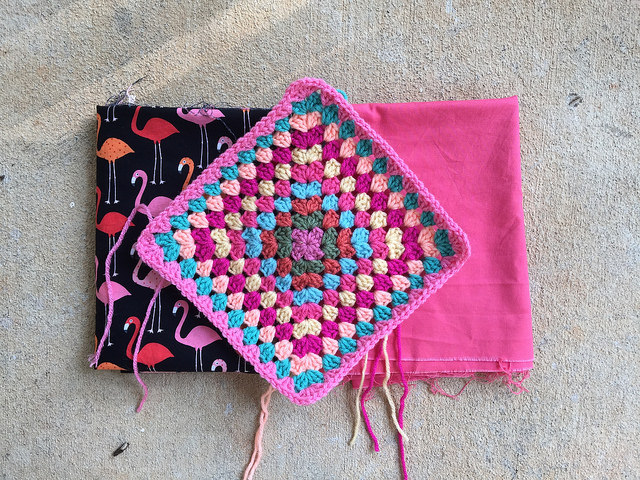 flamingo fabric lining granny square crochet bag