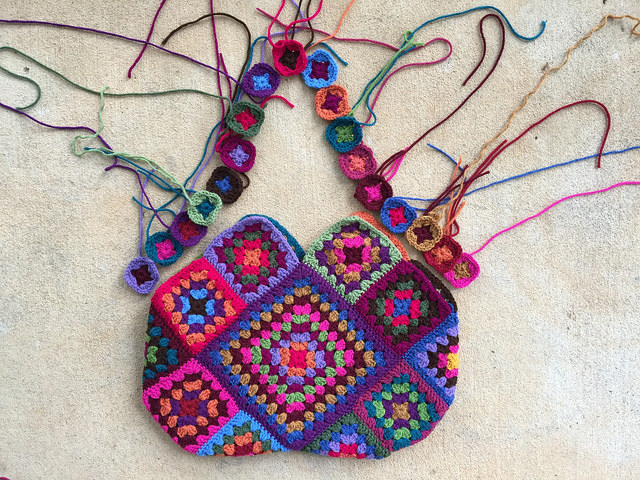 The other side of my fourth granny square crochet bag