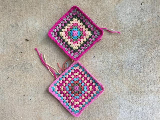 two large granny squares crochet bag