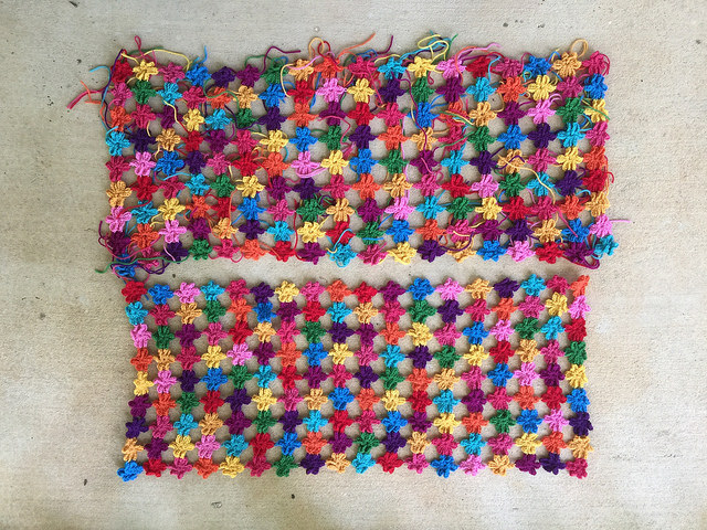 Two six-petal flower crochet shawls to-be that figure into a cautionary crochet tale