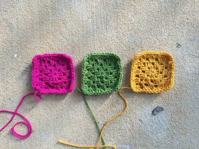 Three very serious four-round granny squares
