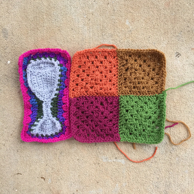 a water goblet crochet motif with four granny squares revised for a better fit