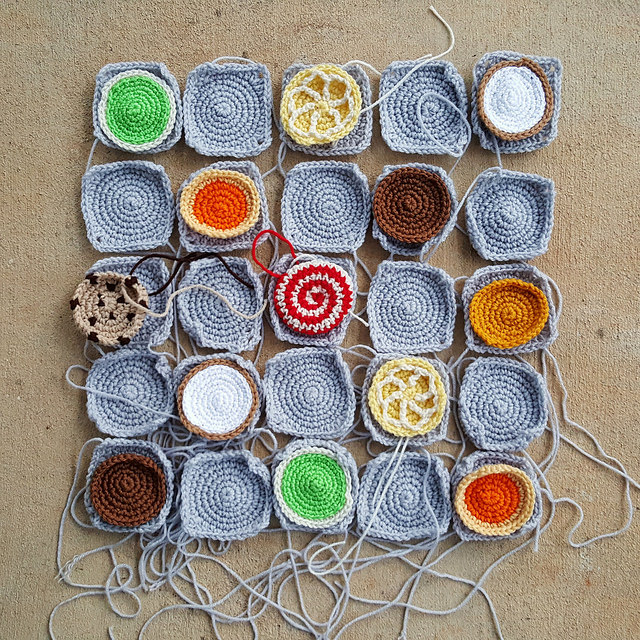 crochet cookie squares and crochet squares