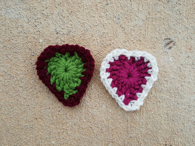 the first two rounds of two boho crochet hearts