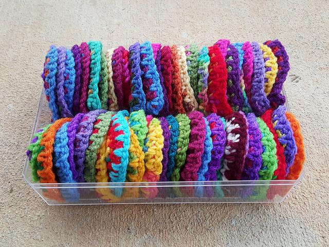 box of boho crochet hearts