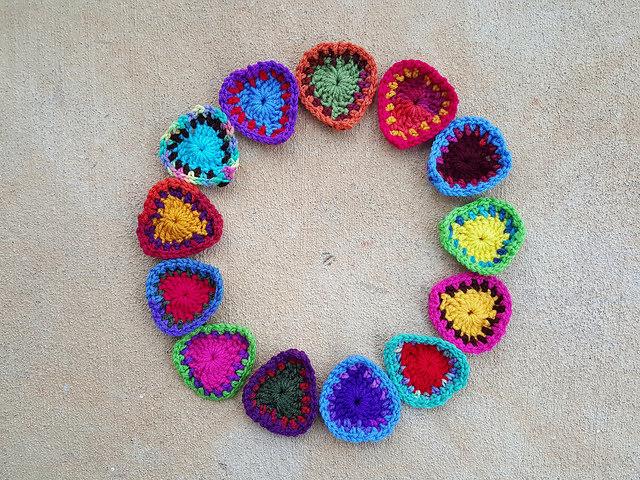 thirteen boho crochet hearts