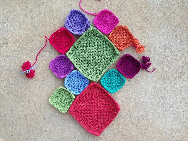 granny square crochet bag pieces