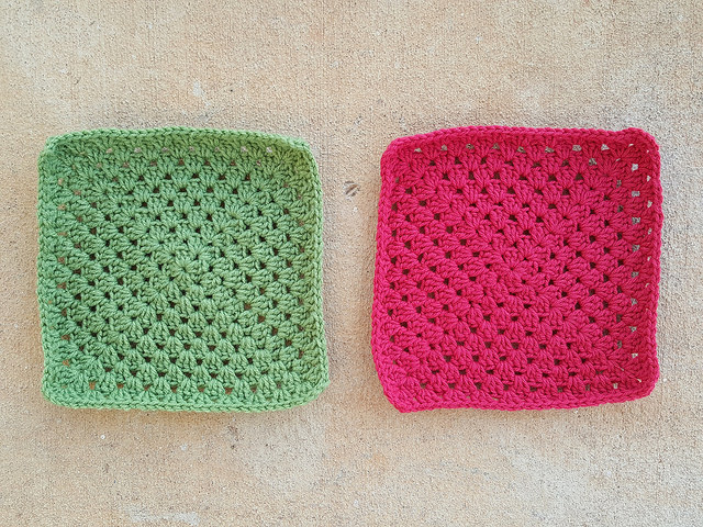 two large crochet granny squares