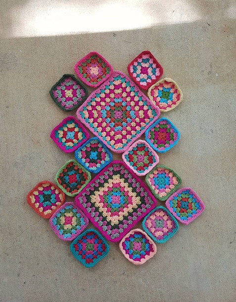 crochet granny squares in a pallet inspired by flamingos