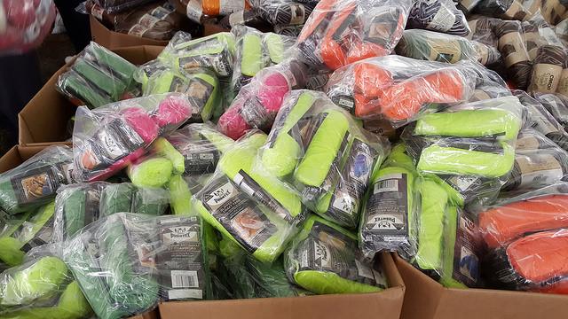 bins of craft yarn