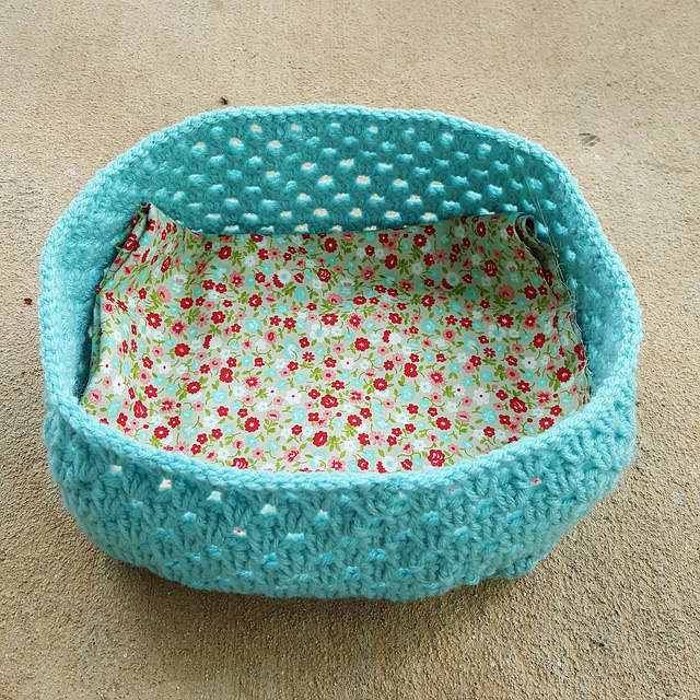 The fabric for the lining of a crochet lunchbox-to-be