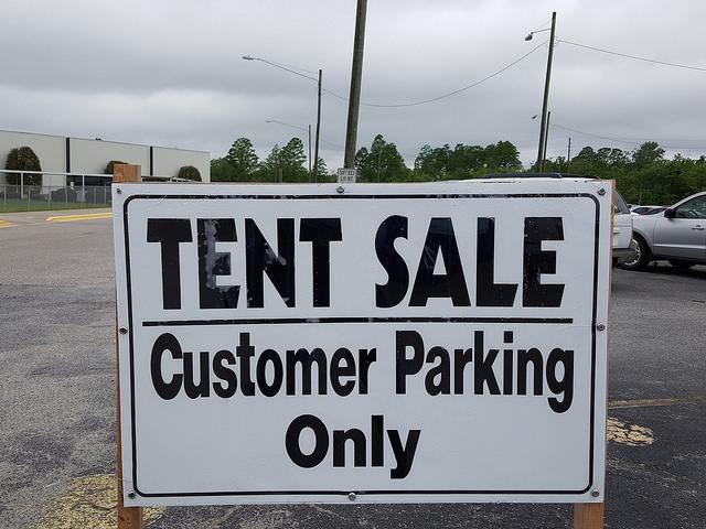 yarn tent sale parking lot