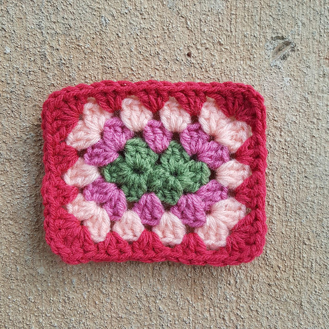 The start of a granny square lunch box with a crochet rectangle perfect for a photo tutorial