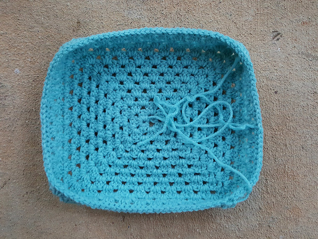The top of the crochet lunchbox