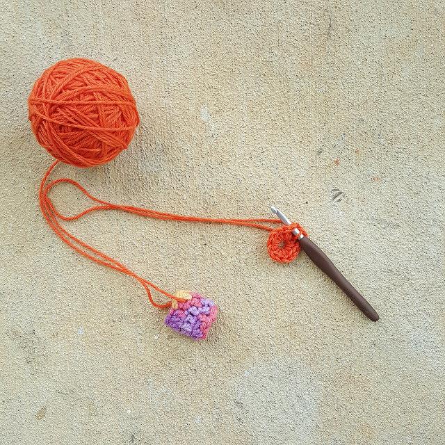 start of a crochet pentagon