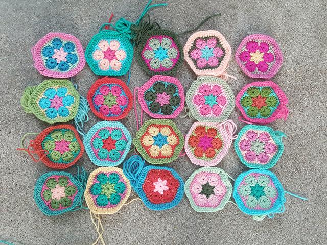 twenty african flower crochet hexagon motifs for a crochet soccer ball