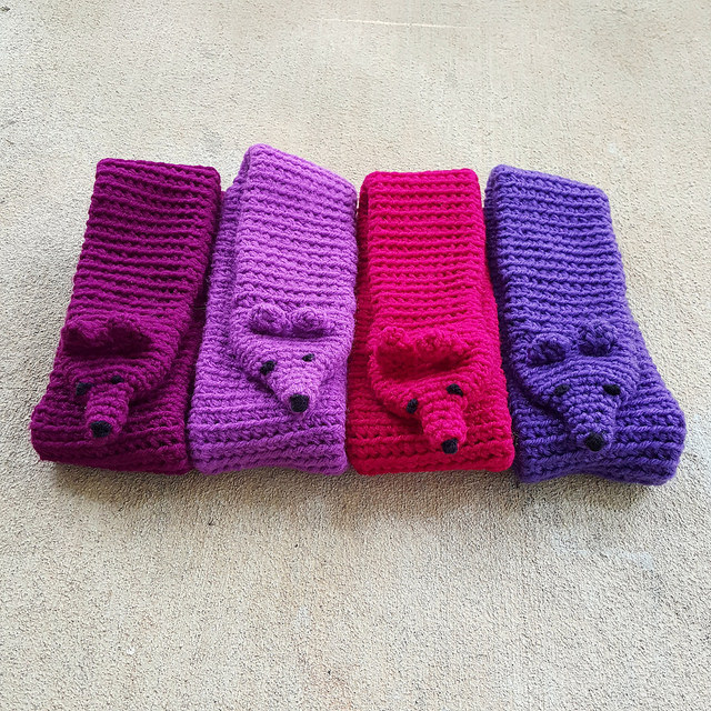 four folded crochet minks with no fur