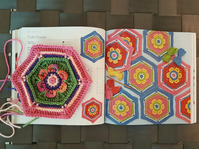folk crochet flower crochet hexagon leonie morgan