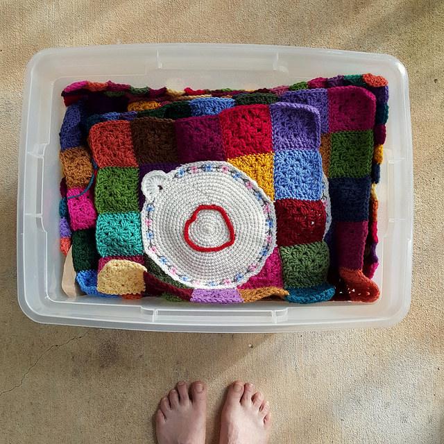 One of the crochet corner motifs of a crochet work in progress
