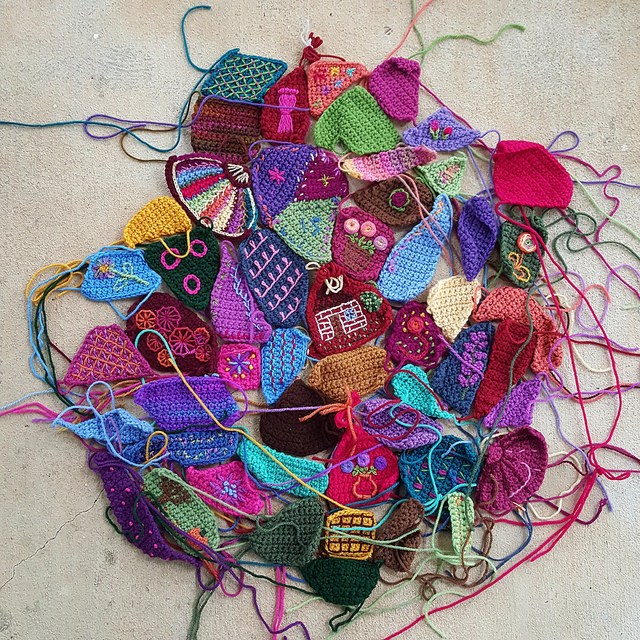 overview of crazy quilt crochet pieces