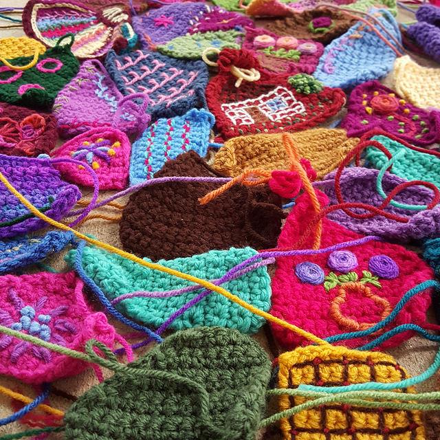 detail of crazy quilt crochet pieces