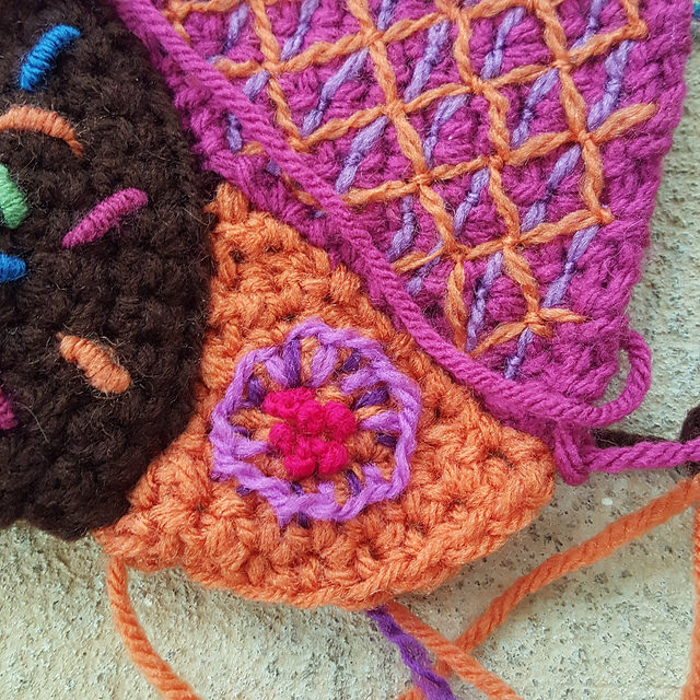 embroidery on crochet