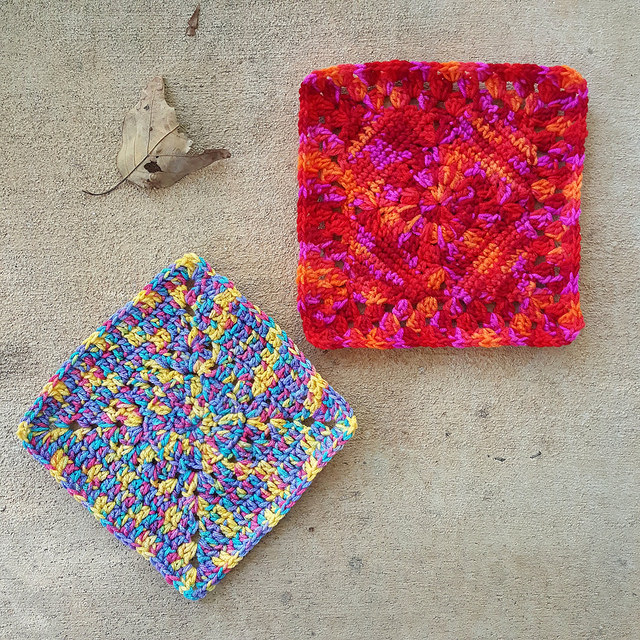 two variegated yarn crochet granny squares