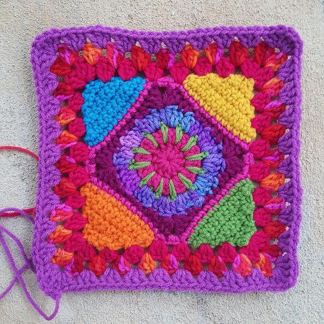 psychedelic rainbow crochet square