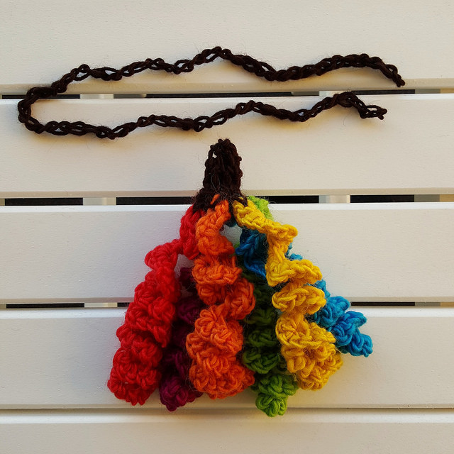 crochet hyperbolic tassel and crochet chain