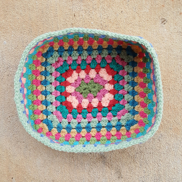 A crochet granny rectangle basket