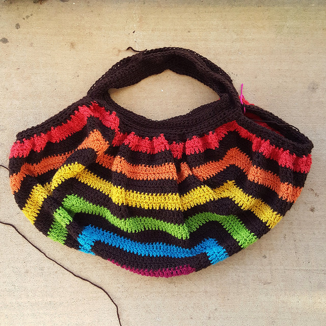The future crocheted then felted fat bag turned 90 degrees for another view